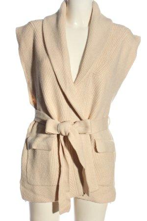 Zara Długi sweter bez rękawów kremowy Warkoczowy wzór W stylu casual