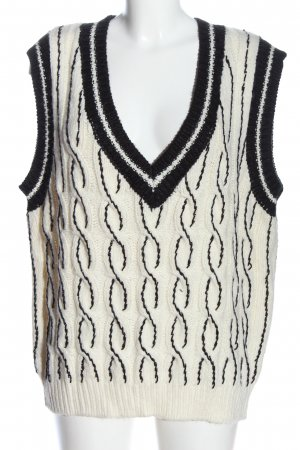 Zara Długi sweter bez rękawów kremowy-czarny Warkoczowy wzór W stylu casual