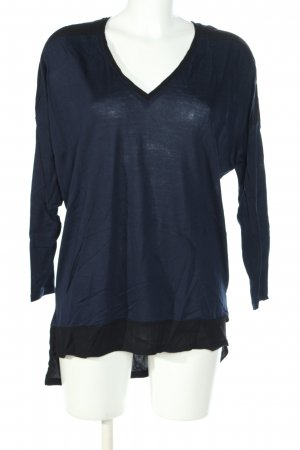 Zara V-Ausschnitt-Pullover blau-schwarz Casual-Look