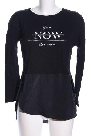 Zara Longshirt schwarz Schriftzug gedruckt Business-Look