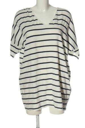 Zara Longshirt weiß-schwarz Streifenmuster Casual-Look