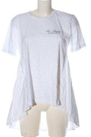 Zara Longshirt weiß Schriftzug gedruckt Casual-Look
