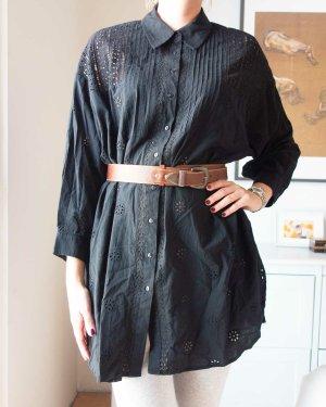 Zara Longshirt Bluse mit Lochstickerei schwarz Baumwolle Oversized Gr. S/ M NEU