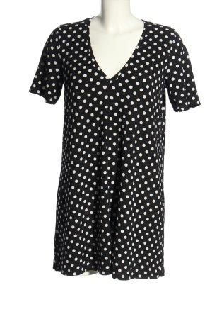 Zara Shirtkleid schwarz-weiß Punktemuster Casual-Look