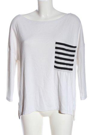 Zara Longsleeve weiß-schwarz Streifenmuster Casual-Look