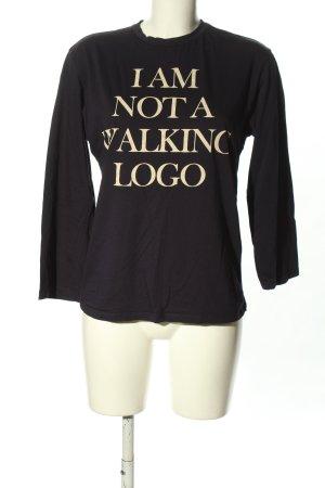 Zara Longsleeve schwarz-wollweiß Schriftzug gedruckt Casual-Look