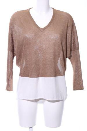 Zara Longsleeve bronzefarben-weiß Casual-Look