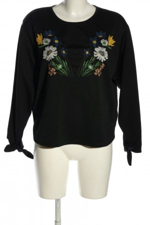 Zara Longsleeve schwarz Blumenmuster