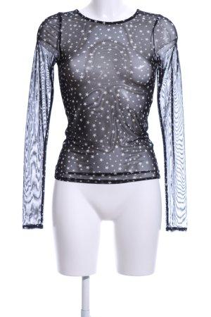 Zara Longsleeve schwarz-weiß Sternenmuster Party-Look