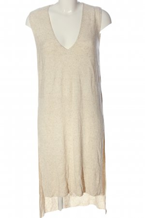 Zara Long Knitted Vest cream flecked casual look