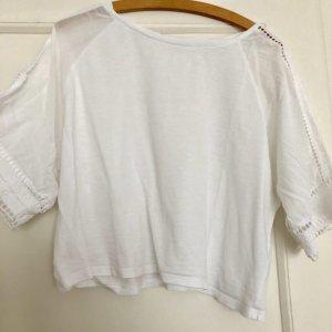 Zara M 38 weites boxy Shirt Materialmix Lochstickerei