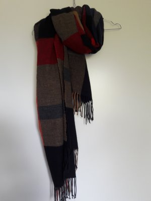 Zara (Man) Winter Schal kariert schwarz blau camel rot mit Fransen