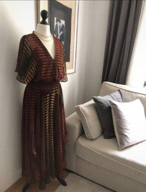 Sukienka boho brązowy-głęboka czerwień