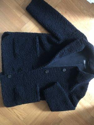 Zara Basic Manteau court noir tissu mixte