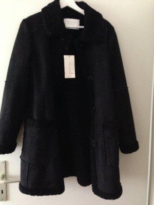 Zara Woman Abrigo de piel negro Poliéster