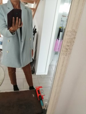 Zara Basic Abrigo ancho azul claro