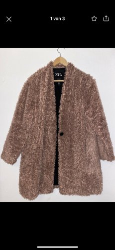 Abrigo de piel sintética color rosa dorado-rosa