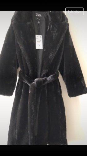 Zara Manteau en fausse fourrure noir