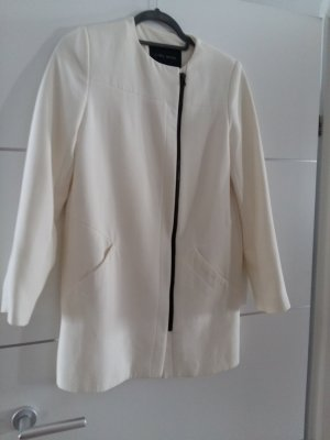 Zara Płaszcz przejściowy czarny-w kolorze białej wełny