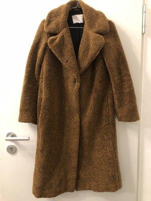 Zara Pluszowy płaszcz brązowy