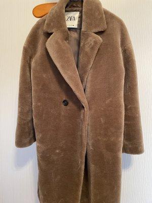 Zara Płaszcz ze sztucznym futrem jasnobrązowy-beżowy