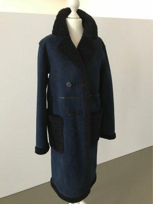 Zara Manteau de fourrure bleu foncé-bleu acier polyester