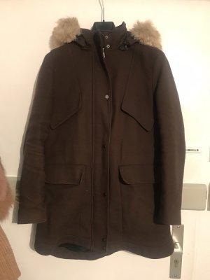Zara Manteau à capuche brun foncé