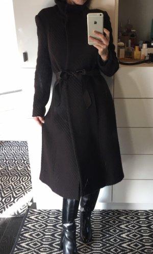 Zara Mantel braun Wollmantel Struktur Gürtel edel Midi Mantel Business elegant Blogger 36 S