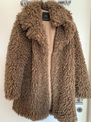 Zara Basic Płaszcz polarowy jasnobrązowy