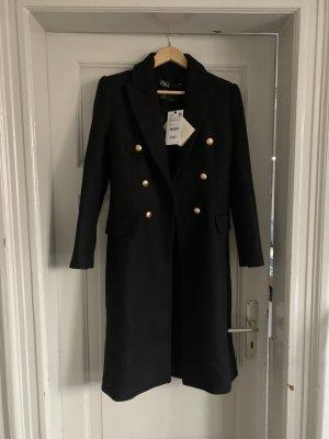 Zara Wełniany płaszcz czarny