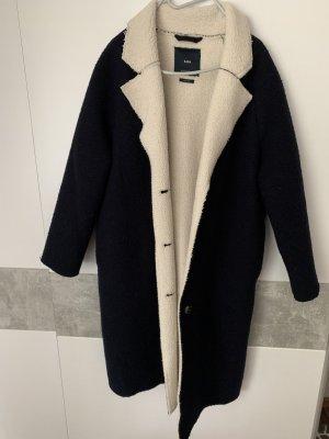 Zara Manteau d'hiver bleu foncé-blanc
