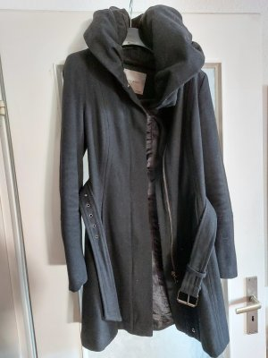 Zara Mantel M 38 Kapuze Wolle Schwarz Gürtel