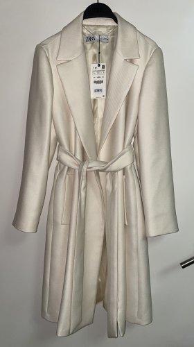 Zara Mantel mit Gürtel lang L 40 gebrochen weiß