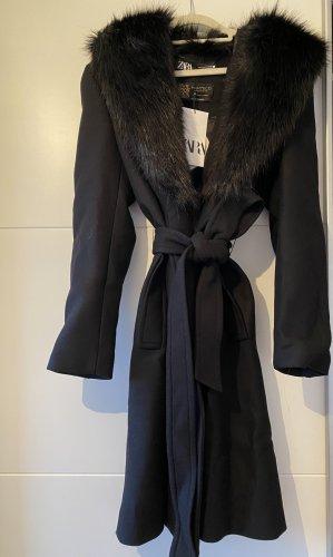 Zara Mantel mit Gürtel XL schwarz