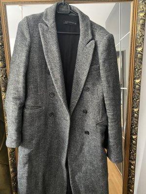 Zara Mantel S Jacke Fischgrätenmuster grau schwarz