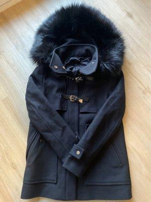 ZARA Mantel schwarz mit abnehmbarer Kapuze