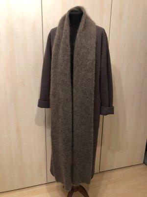 Zara Abrigo de punto marrón grisáceo