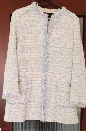 Zara Mantel Tweed Blazer boohoo Jacke Jacket Blogger blau hellblau weiss