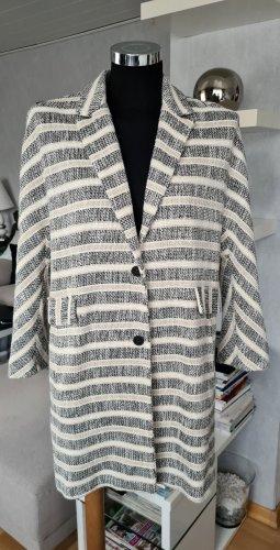 Zara Basic Abrigo corto beige claro-negro