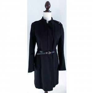 ZARA Mantel Übergangsmantel schwarz Talliengürtel Military Schulterklappen Knopfleiste Größe M 36 38