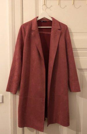 Zara Abrigo de entretiempo rosa Poliéster
