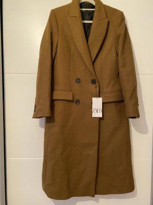 Zara Wełniany płaszcz jasnobrązowy-camel