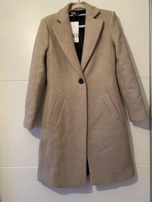 Zara Wełniany płaszcz jasnoszary-beżowy