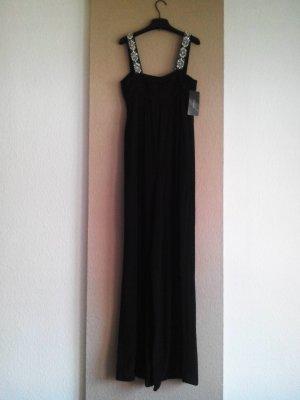 Zara Maxi-Jumpersuit in schwarz, Träger mit Schmuckperlen, Größe S neu