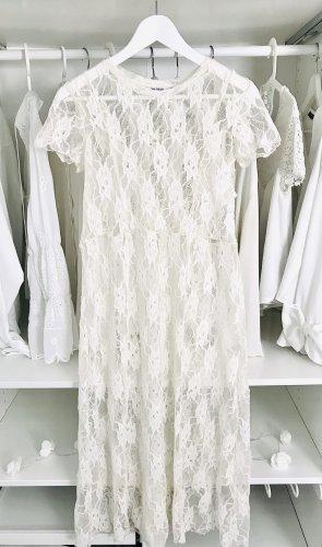 Zara Robe en dentelle blanc-blanc cassé