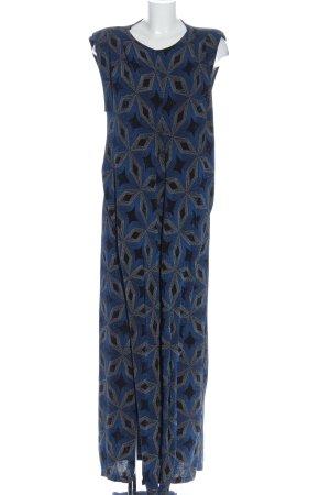 Zara Maxikleid blau grafisches Muster Casual-Look