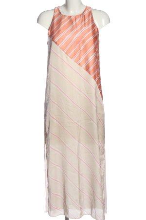 Zara Maxikleid hellorange-weiß Streifenmuster Casual-Look