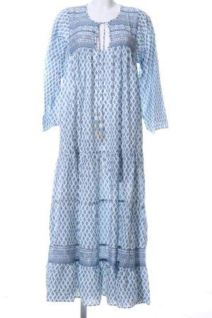 Zara Maxikleid blau-weiß Allover-Druck Casual-Look