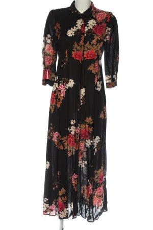 Zara Maxikleid schwarz-rot Blumenmuster Elegant