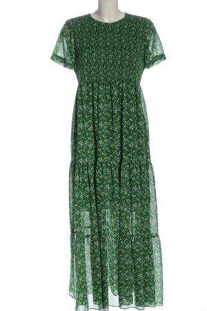 Zara Maxikleid grün-weiß Allover-Druck Casual-Look